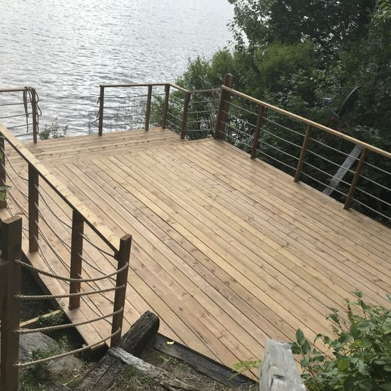 Top view of a newly constructed deck