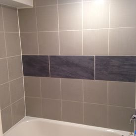 View of installed bathroom tiles
